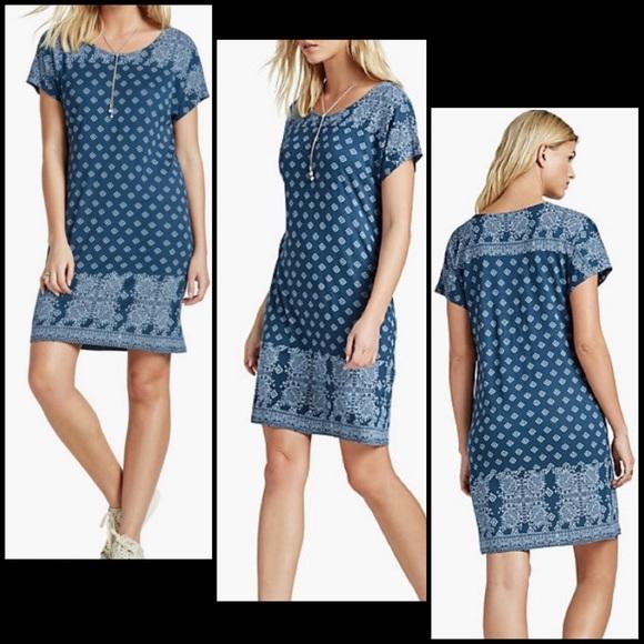 Lucky Brand Blue Modern Geo Print Shift Tee Dress